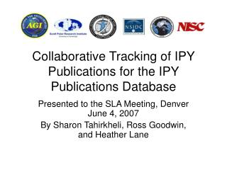 Collaborative Tracking of IPY Publications for the IPY Publications Database