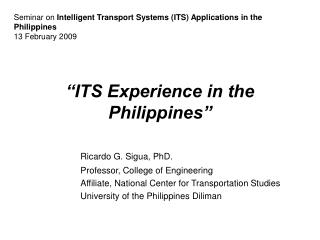 """ITS Experience in the Philippines"""