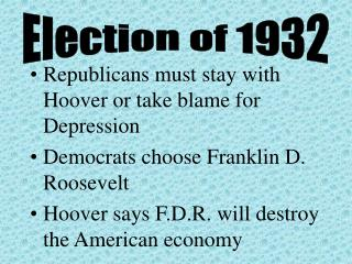 Republicans must stay with Hoover or take blame for Depression