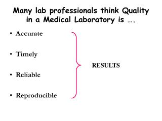 Many lab professionals think Quality in a Medical Laboratory is ….