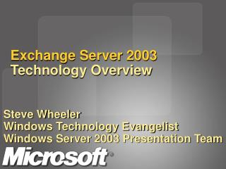 Exchange Server 2003 Technology Overview