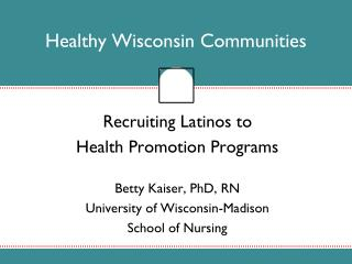 Healthy Wisconsin Communities