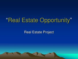 """ Real Estate Opportunity """