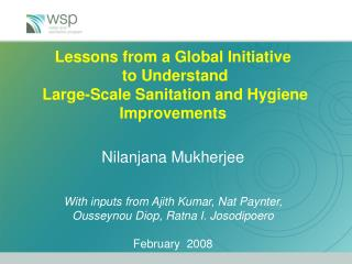 Total Sanitation and Sanitation Marketing (TSSM) Project – A WSS & H learning Initiative