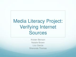 Media Literacy Project: Verifying Internet Sources