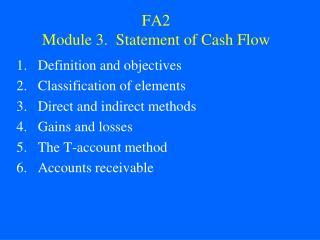 FA2 Module 3. Statement of Cash Flow