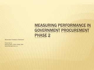 Measuring Performance in Government Procurement Phase 2
