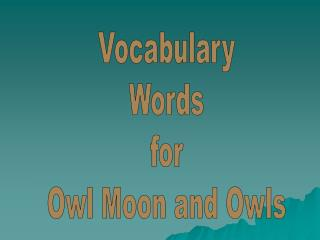 Vocabulary Words for Owl Moon and Owls
