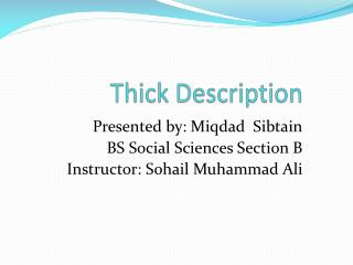 Thick Description