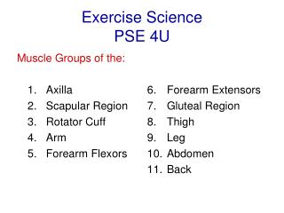 Exercise Science PSE 4U