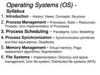 Operating Systems (OS) - Syllabus