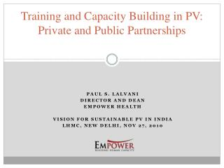Training and Capacity Building in PV: Private and Public Partnerships