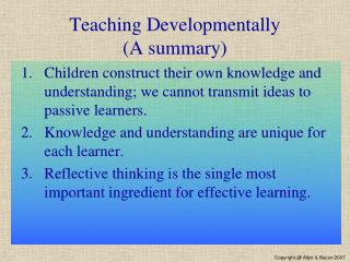 Teaching Developmentally (A summary)