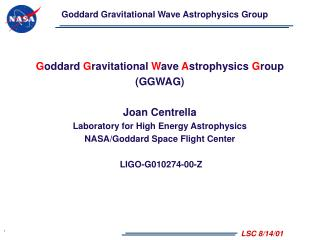 Goddard Gravitational Wave Astrophysics Group