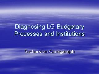 Diagnosing LG Budgetary Processes and Institutions