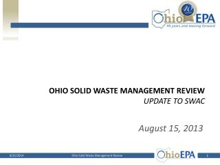 Ohio Solid waste management review Update to SWAC