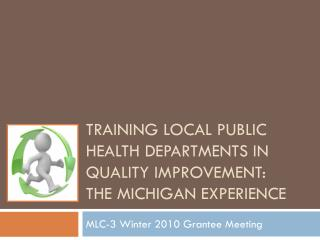 Training Local Public Health Departments in Quality Improvement:  The Michigan Experience