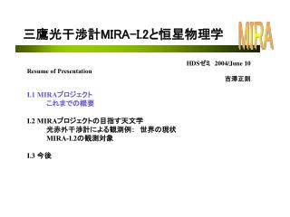 HDS ??? 2004/June 10 Resume of Presentation ???? I.1 MIRA ?????? 	??????? I.2 MIRA ????????????? 	??????????????????? MI