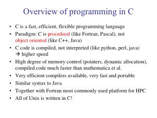 Overview of programming in C