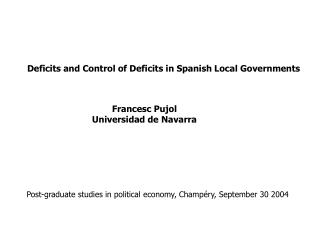 Deficits and Control of Deficits in Spanish Local Governments