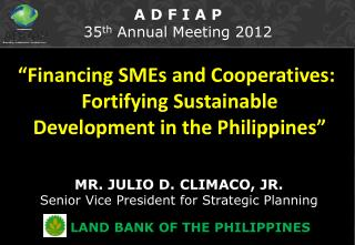 """Financing SMEs and Cooperatives: Fortifying Sustainable Development in the Philippines"""