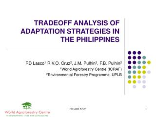 TRADEOFF ANALYSIS OF ADAPTATION STRATEGIES IN THE PHILIPPINES