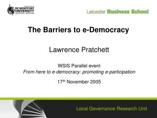 The Barriers to e-Democracy