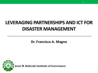 Leveraging partnerships and  ict  for  disaster management