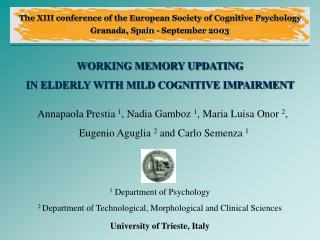 WORKING MEMORY UPDATING  IN ELDERLY WITH MILD COGNITIVE IMPAIRMENT