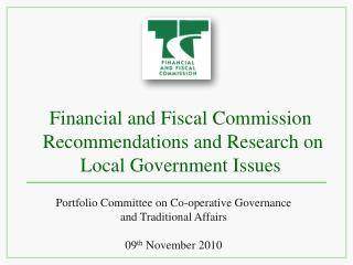Financial and Fiscal Commission  Recommendations and Research on Local Government Issues
