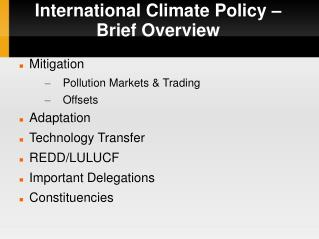International Climate Policy –  Brief Overview