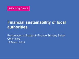 Financial sustainability of local authorities