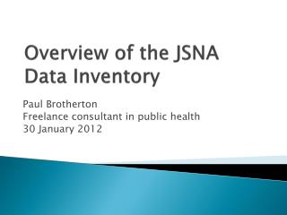 Overview of the JSNA Data Inventory
