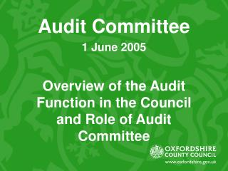 Audit Committee 1 June 2005