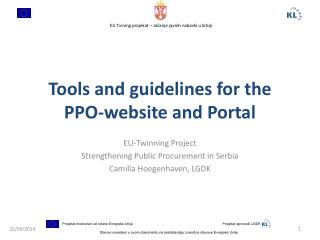 Tools  and guidelines  for the PPO-website and Portal