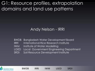 G1: Resource profiles, extrapolation domains and land use patterns
