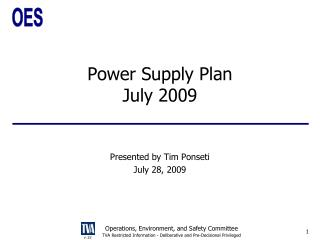 Power Supply Plan July 2009