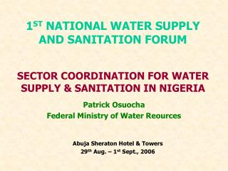 SECTOR COORDINATION FOR WATER SUPPLY & SANITATION IN NIGERIA