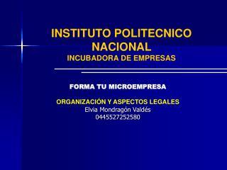 INSTITUTO POLITECNICO NACIONAL  INCUBADORA DE EMPRESAS