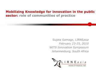 Mobilizing Knowledge for innovation in the public sector:  role of communities of practice