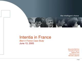 Intentia in France Best in France Case Study June 13, 2005