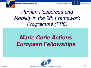 Marie Curie Actions European Fellowships