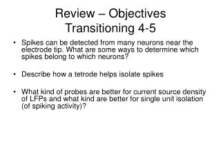 Review – Objectives Transitioning 4-5