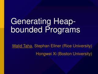 Generating Heap-bounded Programs