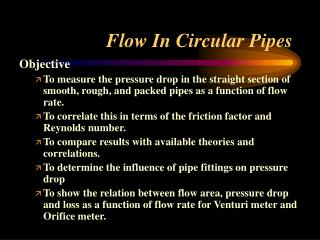 Flow In Circular Pipes