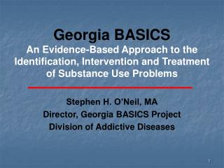 Georgia BASICS An Evidence-Based Approach to the Identification, Intervention and Treatment of Substance Use Problems