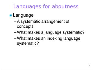 Languages for aboutness
