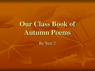 Our Class Book of Autumn Poems