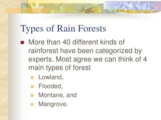 Types of Rain Forests
