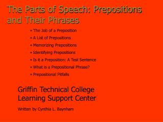 The Parts of Speech: Prepositions and Their Phrases